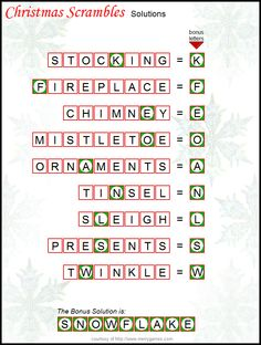 christmas scramble puzzle answer sheet
