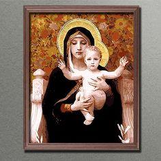 Malen nach Zahlen Maria mit Kind 40x50 cm auf echter Leinwand