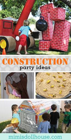 Looking for some fun construction themed party games for your construction birthday party? This post is full of awesome construction party games and activities. Construction Party Games, Construction For Kids, Construction Birthday Parties, Construction Party Decorations, Construction Business, Construction Worker, Graduation Party Games, 3rd Birthday Parties, 3rd Birthday Party For Boy