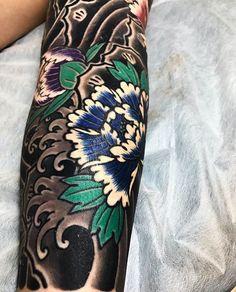 Japanese tattoo sleeve by @horimitsu. #japaneseink #japanesetattoo #irezumi #tebori #colortattoo #colorfultattoo #cooltattoo #largetattoo #armtattoo #tattoosleeve #flowertattoo #peonytattoo #blackwork #blackink #blacktattoo #wavetattoo #naturetattoo