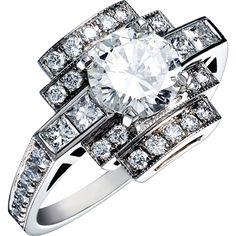 Bague Art Deco AENOR Or blanc et Diamants. Bague ancienne. #bague #artdeco #orblanc #diamants #ancienne #bijoux #luxe #valeriedanenberg