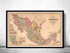 Old Map of Mexico 1859 Vintage MapThis is a reproduction of an highly detailed map.The Map has various dimensions.The map is printed on fine matte museum archival paper 250gsmThe frame is not included.This page will be carefully inserted into a so...