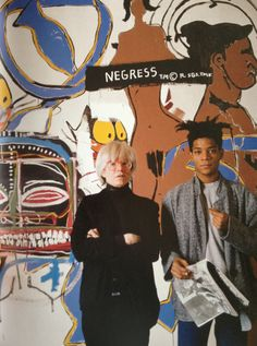 "primary-yellow: ""Andy Warhol and Jean-Michel Basquiat at the Tony Shafrazi Gallery during the exhibition Warhol and Basquiat: Paintings, New York, September 14-October 19, 1985 """