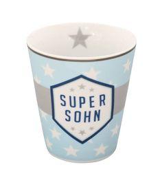"""Mug Kaffeebecher Becher  mit der Aufschrift """"Super Sohn"""" in hellblau mit weißen Sternen Höhe: 10 cm  Bitte beachten Sie, dass unsere Artikelfotos teilweise das komplette Set und Dekoration zeigen. Verkauft wird nur der Artikel, wie..."""