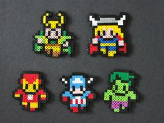 3 Avengers Perler Bead Sprite Magnet by kelseyrushing on Etsy Perler Bead Designs, Hama Beads Design, Pearler Bead Patterns, Diy Perler Beads, Perler Bead Art, Perler Patterns, Pearler Beads, Fuse Beads, Pixel Beads