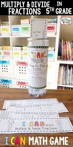 5th grade math game for MULTIPLYING & DIVIDING FRACTIONS. Perfect for math centers, independent practice, whole class review, and progress monitoring. This math game covers ALL Common Core math standards related to multiplying fractions and dividing fractions in Fifth Grade.