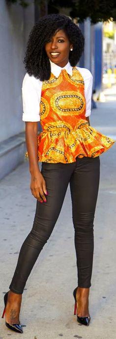 Button Up Shirt + Peplum Blouse + Coated Jeans