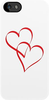 An elegant design of two hearts intertwining, or embracing, each other in a vertical arrangement. This can be seen as a symbol of love and togetherness.