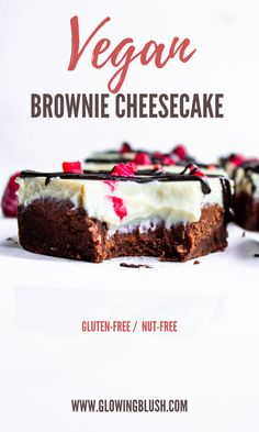 Vegan Brownie Cheesecake Gluten/Nut-free The post Brownie Cheesecake Gluten/Nut-free appeared first on Dessert Park. Brownie Cheesecake, Gluten Free Cheesecake, Vegan Brownie, Healthy Cheesecake, Raspberry Cheesecake, Vegan Dessert Recipes, Vegan Sweets, Baking Recipes, Cake Recipes