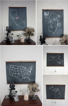 """""""If maps and chalkboards had a love child..."""" from Shop Dirtsa via Erin Ever After."""