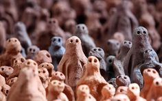 In the sea of clay figurines Local volunteers arranged some of the thousands of clay figures that make up part of Antony Gormley's 'Field for the British Isles,' being installed in Barrington Court on. Natural Born Killers, Barrington Court, Sweet Station, Clay Figurine, Antony Gormley, Gcse Art, High Art, Land Art, British Isles