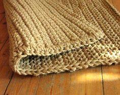 Ganchillo manta de yute puerta / cuerda de yute alfombra / felpudo / grueso alfombra / materiales naturales del 100%