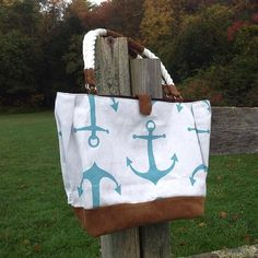 Quality, handmade teal anchor canvas bag with soft brown suede leather, rope handles with brown suede leather accents, magnetic closure, durable