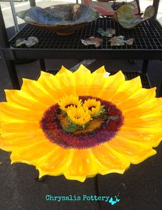 """Sunflower Bird Bath"" ~ Chrysalis Pottery 1 foot 11 inches www.facebook.com/BarbJohnson.pottery"