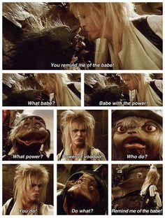 """""""You remind me of the babe..."""" Bowie Labyrinth, Labyrinth Movie, Labyrinth Quotes, Movies Showing, Movies And Tv Shows, The Dark Crystal, Labrynth, Goblin King, David Bowie"""