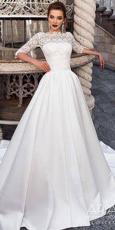 18 Modest Wedding Dresses With Sleeves ❤️ modest wedding dresses with sleeves a line lace top satin skirt ariamo bridal ❤️ Full gallery: https://weddingdressesguide.com/modest-wedding-dresses-with-sleeves/