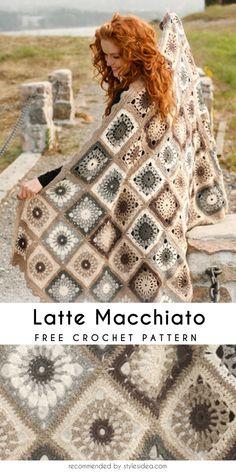 Latte Macchiato Crochet Blanket / Throw #freecrochetPatterns #crochetafghan #freecrochetPatternsforafghan #freecrochetPatternsforblanket #crochetstitch #freecrochetPatternsforthrow