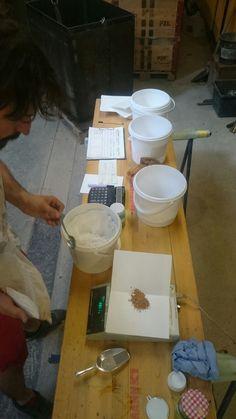 Glazes preparation at the workshop. Tile Design, Glaze, Tiles, Workshop, Crafts, Enamel, Room Tiles, Atelier, Manualidades