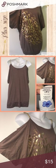 ‼️SOLD‼️Plus size Animal Preloved tan top with gold chain strap. Animal print foil in the front. Cute, barely used. Loose and comfortable. ❌No trades❌ Kress  Tops Blouses
