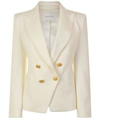 Pierre Balmain Four Button Blazer ($965) ❤ liked on Polyvore featuring outerwear, jackets, blazers, raw white, slim fit double breasted blazer, white blazer jacket, white slim fit blazer, white cotton jacket and cotton jacket