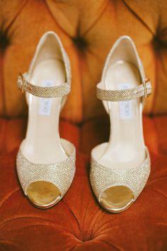 gold glittery wedding shoes - photo by Britt Taylor Photography http://ruffledblog.com/rich-toned-wedding-ideas-in-northern-california #jimmychoo #weddingshoes