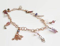 Rose Gold Bracelet Rose Gold Gemstone Bracelet by JillyJillJewelry
