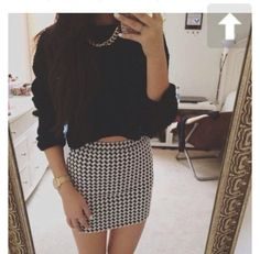 charcoal and white checkered skirt - Google Search