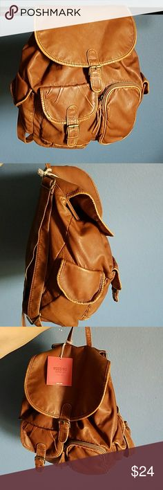 Mossimo brown leather book bag/backpack Brand new never been used currently accepting all offers Bags Backpacks