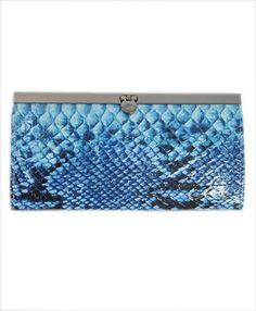 BG Faux Snake Skin Leather Purse Clutch , Blue $8.99