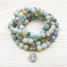 2017 Sn1144 Matte 8mm Amazonite 108 Mala Bracelet Or Necklace Tree Of Life Bracelet High Quality Yoga Jewelry From Stephense, $26.94 | Dhgate.Com