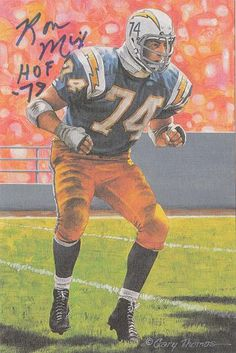 Ron Mix Autographed San Diego Chargers Goal Line Art Card Glac Blue (n o)  15230 dbed6852b