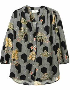 Pyrus Solace blouse - futura - The Solace is a beautiful blouse from Pyrus, with a stunning white geometric print on a black base, enhanced with a leaf and floral print in soft green and . Dress Outfits, Fashion Dresses, Blouses Uk, Feather Stitch, Easy Shape, Pyrus, Pink Tone, Blouse Dress, Friends In Love