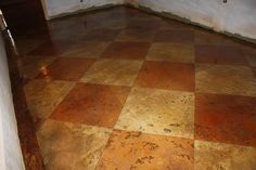 """Scored into tiles on a 45 deg angle then stained with opposing colors of cola and goldenwheat, finished with gloss """"PAP"""". Acid Stained Concrete Floors, Concrete Tiles, Cement, Painted Floors, New Home Designs, Countertops, Tile Floor, House Design, Floor Painting"""