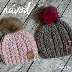 NÁVOD č.87**..2-mini copánkový Baby Hats Knitting, Crochet Baby Hats, Knitting For Kids, Knitted Hats, Embroidery Patterns, Crochet Patterns, Puff Stitch Crochet, Crochet Girls, Crochet Instructions