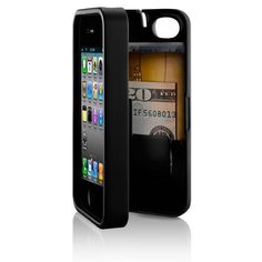 iPhone 4/4S Case with Storage - $29 - The all-in-one protective phone case with hinged back for built-in storage that clicks shut to keep your personal items—cash, credit card, i.d.—securely in one place.