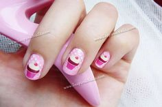 Pink Cupcake Nail Art in Full Nail Decals by InspiredNails on Etsy, $10.00