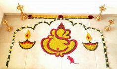 Diwali Rangoli Design with Flowers
