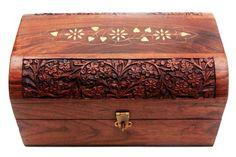 Wooden Decorative Jewelry Storage Box or Organizer Hand Carved From Rosewood… Mughal Jewelry, Wooden Jewelry, Jewelry Box, Thanksgiving Gifts, Jewellery Storage, Dark Wood, Trinket Boxes, Storage Organization, Red Velvet