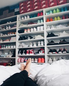Mega Sneaker Collection for the ladies . from Nike to adidas is all there! How do you store your sneakers? pic by Janice Helsoe Shoe Wall, Shoe Room, Shoe Closet, Closet Small, Sneaker Collection, Shoe Collection, Sneaker Storage, Shoe Cabinet, Dream Closets