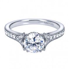 Classic Solitaire #Diamond #Engagement Ring Setting with Eternity Band