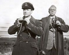 Richard Todd as Wing Commander Guy Gibson (left) and MIchael Redgrave as Dr Barnes Wallis, who came up with the idea for the bouncing bomb in a scene from The Dam Busters Richard Todd, Holby City, Midsomer Murders, Disney Cast, War Film, Film Studio, Farm Hero Saga, Science, Classic Movies