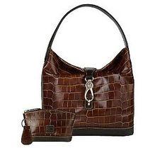 $430 Dooney & Bourke Croco Embossed Leather Logo Lock Hobo Bag w/ Accessories