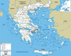 Detailed clear large road map of Greece showing major roads, routes and direction to cities, islands, towns, villages and regions. Continents And Countries, Countries Of The World, Greek Islands Map, Highway Map, Greece Map, Republic Of Macedonia, Greek Culture, Country Maps, View Map