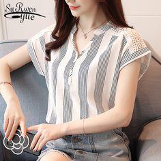 e6d57669a 2018 Verão Chiffon Blusa Mulheres camisas de Manga curta blusas Listradas  topos de mulheres blusas da