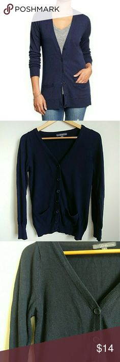 """Forever 21 Navy Blue Boyfriend Cardigan W/POCKETS! Front pockets on these are not only adorable but also handy for stashing your keys or other small goodies! Its been loved & shows some pilling but otherwise in good condition. Super soft cotton/viscose/nylon/angora blend. Banded cuffs and hem. Button front. V Neck. Bust: 35"""" Length: 34"""" Forever 21 Sweaters Cardigans"""