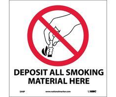 DEPOSIT SMOKING MATERIALS HERE (W/GRAPHIC), 7X7, PS Vinyl
