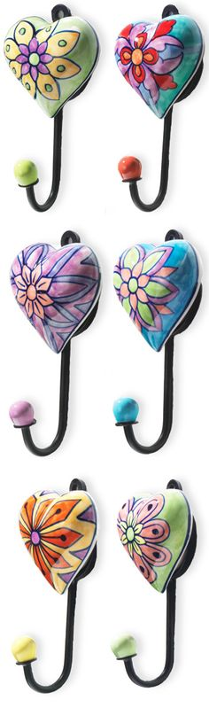 Handpainted heart shaped ceramic hooks - any colour anywhere