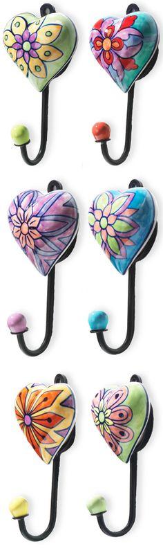 Handpainted heart shaped ceramic hooks - any colour anywhere
