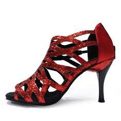 Zapatos de baile latino Salsa Ballroom Red Black Purple Silver slim high heels glitter Ballroom 36 women Latin Dance Shoes L-052
