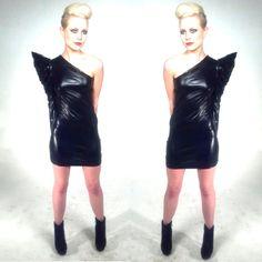 Black pleather one shoulder dress by: Oseas Villatoro